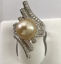 Golden South Sea Cultured Round 11.7mm Pearl Ring with White Topaz