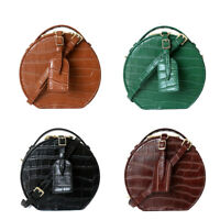 Small Mini Real Leather Croc Embossed Round Crossbody bag Shoulder Bag Purse