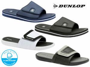 Mens Dunlop Sliders Flip Flops Memory Foam Comfort Summer Beach Pool Sliders