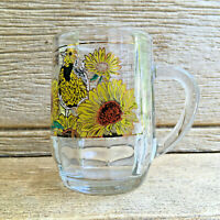 Optic Glass Souvenir Mug Coffee Cup Kansas USA Sunflowers Vintage