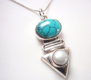 Cultured Pearl and Turquoise 925 Sterling Silver Pendant Corona Sun Jewelry