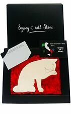 More details for handmade in italy licking paw stone cat - gift box & message card included -