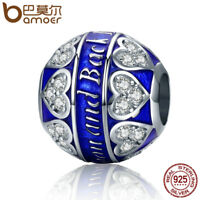 BAMOER S925 Sterling silver Charm love you forever& Blue CZ For bracelet Jewelry