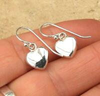 HEART SHAPED PLAIN 925 STERLING SILVER DROP EARRINGS