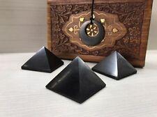 Shungite Pyramid 40 (3 pcs) + Shungite Pendant Talisman EMF Protection Polished