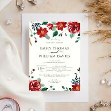 10 Wedding Invitations Day/Evening Watercolour Floral Red Flowers