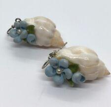 Vintage Earrings Shell Flower Dangle