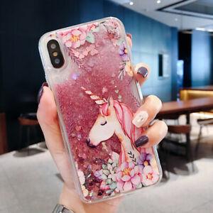 Unicorn Glitter Liquid Hard Phone Case Cover iPhone 6 6S 7 8 Plus X XR XS Max