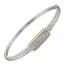 1/4 ct Diamond Hinged Bangle Bracelet in Sterling Silver & 14K Gold