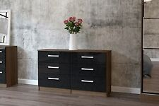 Lynx High Gloss Black and Walnut 6 drawer midi dresser chest  new