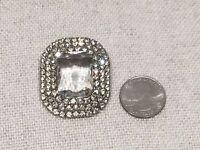 Vintage Clear Rhinestone / Crystal Retangular Emerald Cut Pin Brooch Silver Tone