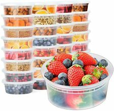 24 Pack 8 oz. (1 Cup) Plastic Food and Drink Storage Containers Set with Lids
