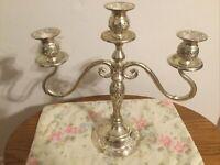 """Vintage 13"""" GSA Godinger 3 Light Silver Plated Ornate Candelabra Candle Holder"""