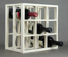 Victoria Wine Rack 9 bottles Solid Wood  White Wash Stain Countertop