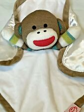 Baby Starters Plush Sock Monkey Rattle Velour Satin Security Baby Lovey Blanket