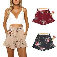 Womens High Waist Floral Casual Holiday Beach Hot Pants Ruffle Mini Dress Shorts