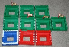 Set of 10 Plastic Square Fort roofs - Green, red and blue - All Nice with 4 flag