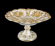 Meissen Germany Porcelain Gold Grape Leaf & Fruit Pedestal Bowl Compote c.1900