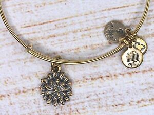 Alex and Ani Water Lily Charm Gold Bracelet