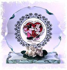 Mickey Minnie Disney Glass Plaque Unique Valentine Girlfriend Boyfriend Ltd  #1