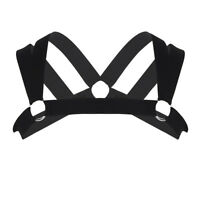 Mens O-ring Lingerie Double Shoulder Straps Body Chest Harness Nightclub Costume