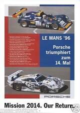 Porsche Poster Le Mans 1996 - Our Mission 2014 - 42 x 58 cm - neu & gerollt