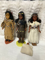 "Vintage Plastic Indian Dolls, Set of 3, 8"" Tall"
