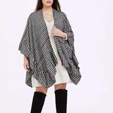 Torrid Wrap Ruana Shawl Gingham Plaid Draped Black White Blanket Poncho Plus