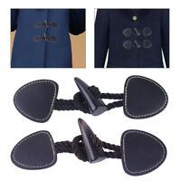 5 Set Vintage Horn Toggle Button Fastener Leather for Duffle Jacket Coat Clothes