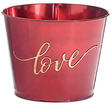 """6-Inch Red Metal Valentine's Day Flower Pot Cover with Gold """"Love"""" Accent – Home"""