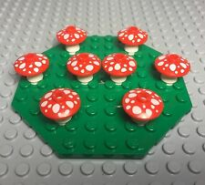 Lego New Bulk Lot Red Mushroom X8 Mini Figures Plants With Green Octagon Plate