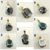 Unique Titanium Coated Natural Geode Druzy 24k Gold Plated Pendant Women Jewelry