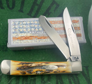 case xx 1976 Stag Black Letter Trapper Knife Etched Blade Unused Near Mint Solid