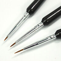 3pcs Tiny UV Gel Acrylic Nail Art Tips Liner Drawing Pen Brush Painting Tool Set