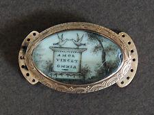 GEORGIAN MOURNING JEWELRY CLASP:  14K Gold, Birds & Tombstone, c1700's    (3Z98)