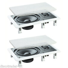 "PAIR OF 2 WAY IN WALL or CEILING SPEAKERS 6.5"" BASS 50w RMS HI FI HOME CINEMA"