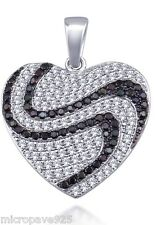 Black And White Heart 925 Sterling Silver Pendant Pave Set Cubic Zirconia Stones