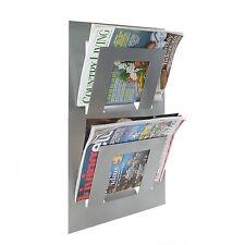 Designer Double Wall Mounted Magazine Newspaper Rack Metallic Silver