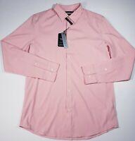 Perry Ellis Slim Fit Stretch Long Sleeve Button Down Shirt Powder Pink Size L