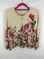 Alfred Dunner Womens Long Sleeve Button Sweater Sz M Beige Floral Pattern F7-08