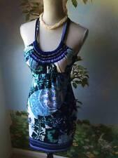 Cache'  Dress Woman's Blue Floral Halter Sheath Dress Size 6