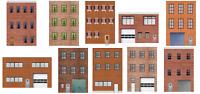 10 Strorefront Rear Side Flat Buildings for Backgrounds for 1:43 Slot Car Tracks