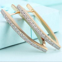 Exquisite Geometry Hoop Circle Earrings Yellow Gold Filled Women Wedding Jewelry