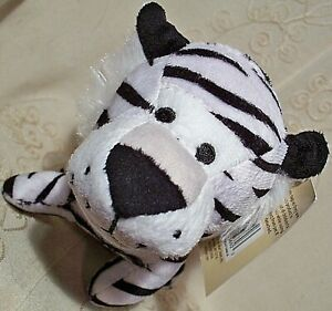 """Multipet Jungle Tiger Squeaky Dog Toy Fetch Chew Plush White 5"""" EarthRite Fiber"""
