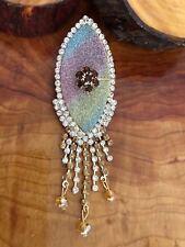Pin Broche Grande Forma de Ojo Diamante Boda Saree Pin Bufanda Abrigo Hijab Nuevo