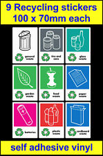 Set of 9 Recycling stickers for your school, office, home bins, WRAP - 100x70mm