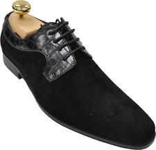Mens Antonio Cerrelli Black Suede Oxford Crocodile Print Dress Shoes