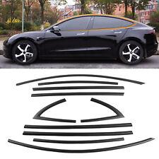 Fit Tesla Model 3 Window Trim Kit Black Window Moldings ABS Matte Accessories