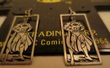 Vintage Licensed DC Comics Batman Full Dangling Sterling Silver Earrings MOC #2