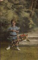 Judaica Jewish New Year Child w/ Flowers c1910 Postcard myn